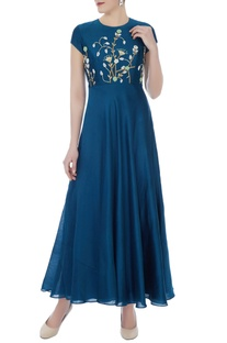 Teal blue chanderi embroidered gown