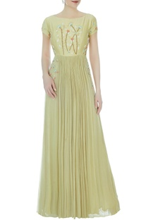 Mint green chanderi & chiffon embroidered gown