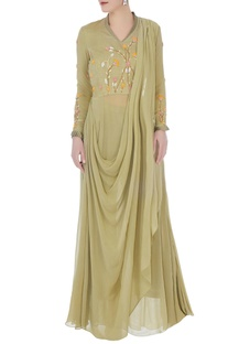 Olive chanderi & georgette embroidered draped dress with pants