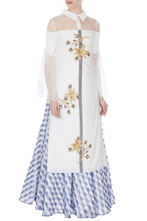 White embellished kurta with blue frayed patch skirt