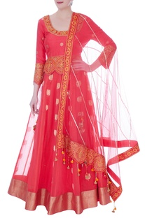 Peach chanderi handloom cutwork lehenga
