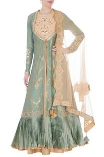 Moss green & beige chanderi handloom mughal jaal embroidered nargis anarkali