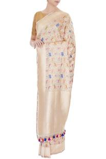 Gold handwoven pure banarasi silk saree