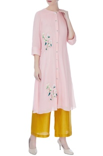 Pastel pink machine & hand embroidered kurta