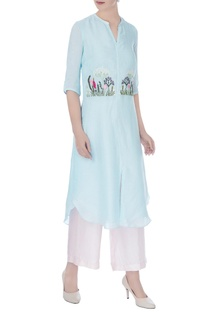 Icy blue linen silk embroidered kurta