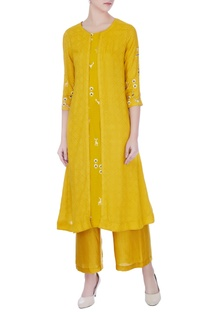 Yellow hand & machine embroidered mustani jacket & kurta