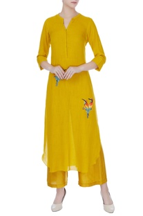 Mustard yellow hand embroidered kurta