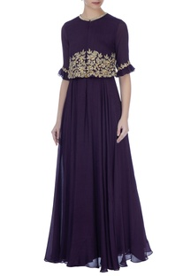 Purple zardozi & sequin embroidered cape gown