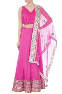 Pink gota embroidered & sequin lehenga set