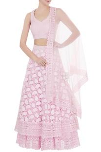 Powder pink  net zircon work double layered lehenga with blouse & dupatta
