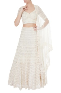 Ivory  net & georgette zircon work lehenga with blouse & dupatta