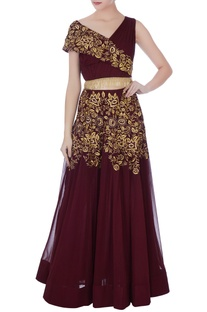 Deep wine georgette thread embroidery lehenga with ruched blouse