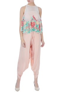 Peach thread embroidery dhoti pants with blouse