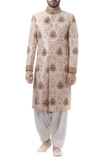 Pink brocade zari work sherwani with off white dhoti pants