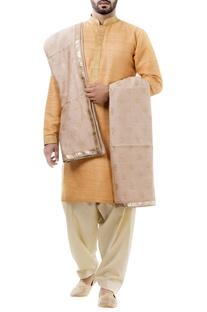 Orange silk thread work kurta with salwar and dupatta