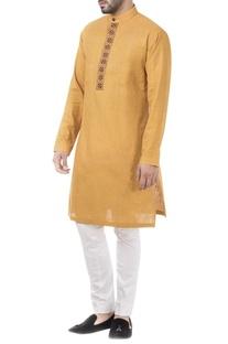 Yellow linen thread work kurta with pants