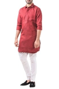 Maroon linen solid classic kurta with pants