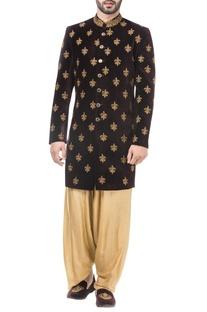 Maroon velvet zari work achkan with salwar