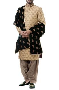 Golden silk zari work sherwani with salwar and dupatta