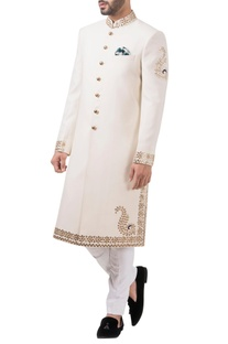 Off white wool & polyester gotta work sherwani with jodhouri pants