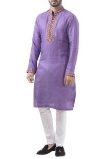 Violet linen thread work classic kurta with jodhpuri pants