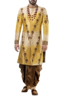 Yellow brocade zari work sherwani with dhoti
