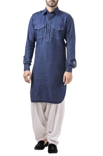 Royal blue linen thread work classic kurta with salwar