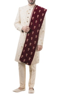 Golden brocade pearl work sherwani with trousers