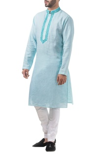 Sky blue linen thread work classic kurta with jodhpuri pants