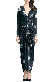Black jersey floral print dress