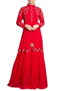 Red pure georgette embroidered palazzo set