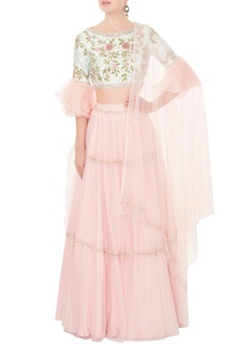 Baby pink cutdana & resham embroidered lehenga set