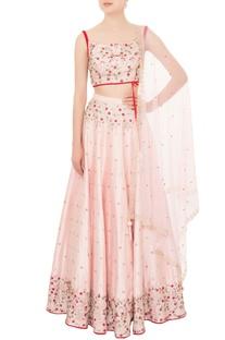 Baby pink dupion silk cutdana work lehenga with velvet strap blouse & dupatta