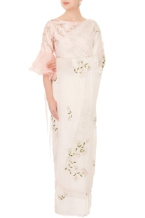 Ivory chiffon resham & cutdana work sari with pink one-shoulder blouse