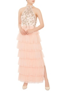 Ivory & peach ruffle layer halter gown