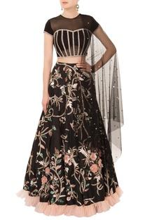 Black resham & cutdana embroidered lehenga set