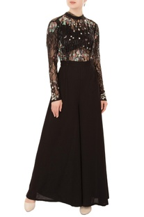 Black cutdana & sequin embroidered crepe silk jumpsuit