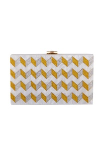 Gold & silver acrylic zig zag design clutch bag