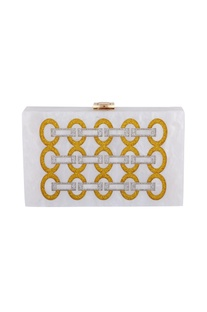 Gold & silver acrylic link design clutch bag