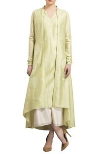 Mint green chanderi tree embroidered anarkali jacket with palazzo and inner