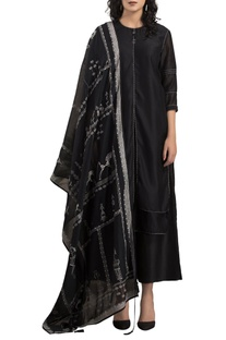 Black chanderi kurta with palazzos & screen printed dupatta