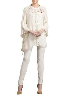 Ivory georgette asymmetric blouse with kaftan sleeves
