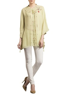 Light green flowy asymmetric georgette blouse