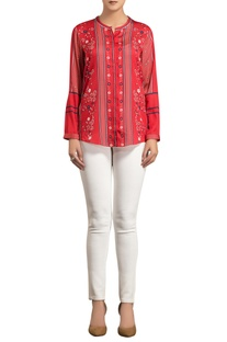 Red poly satin digital printed shirt