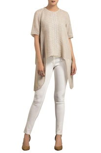 Beige linen screen print & embroidered asymmetric blouse with inner
