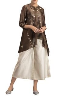 Brown chanderi high-low shibori kurta
