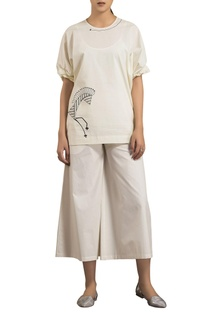 Ivory poplin oversized screen printed blouse
