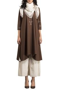 Brown poplin kurta with ivory palazzos & scarf