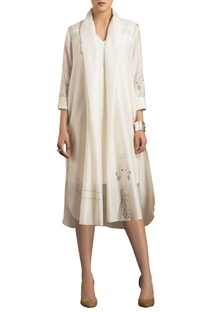 Ivory chanderi silk jacket with inner dress