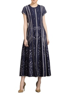 Ivory & navy blue chanderi digital printed anarkali jacket
